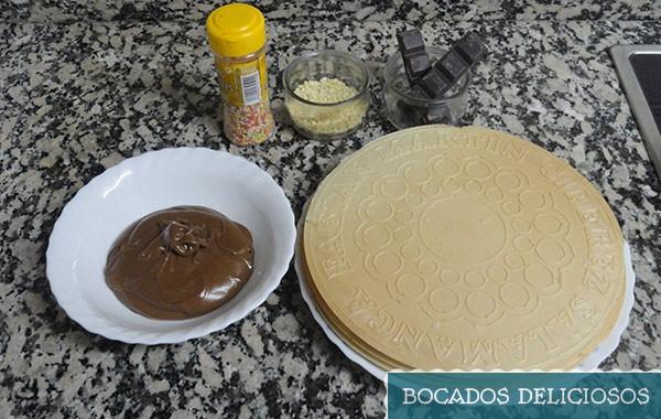 ingredientes para la tarta de chocolate crujiente