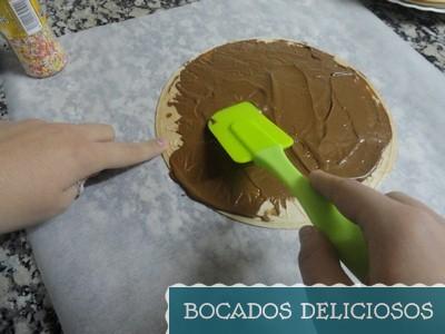 untamos la crema de cacao en la oblea
