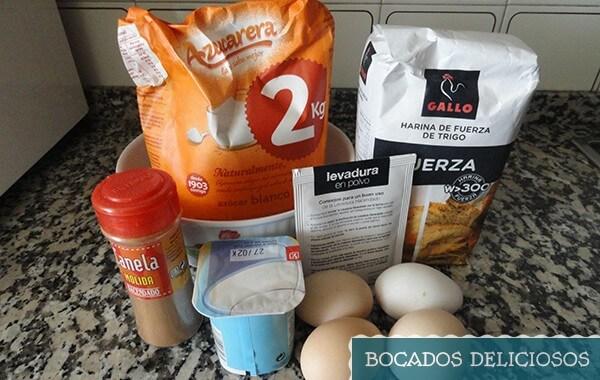 ingredientes de bizcocho de yogurt y nueces