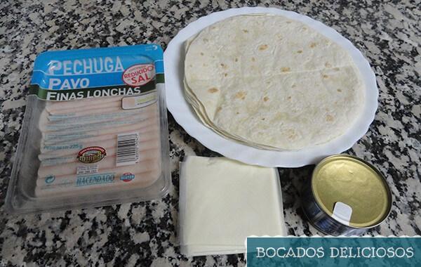 ingredientes de quesadillas de jamon york y atun