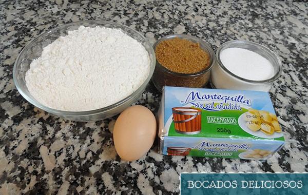 ingredientes de cookies con chocolate
