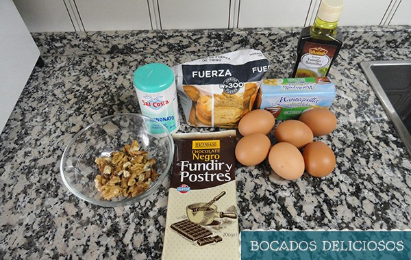 ingredientes brownies de chocolate con nueces