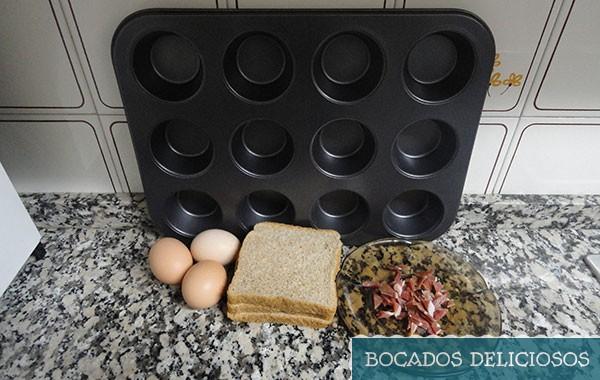 ingredientes cestas con huevo