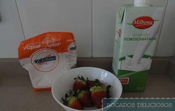 Ingredientes del batido de fresas